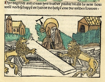 Two lions, a hermit and a coffin