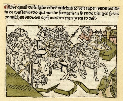 Men on horses fighting and plundering