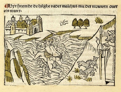 A monk and woman swim through a river