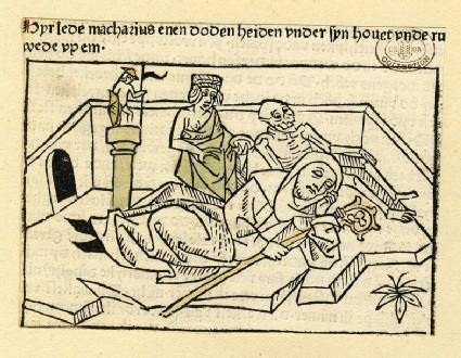 A clergyman a townsman and a skeleton