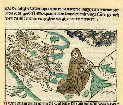 A hermit is chased by a chariot of demons