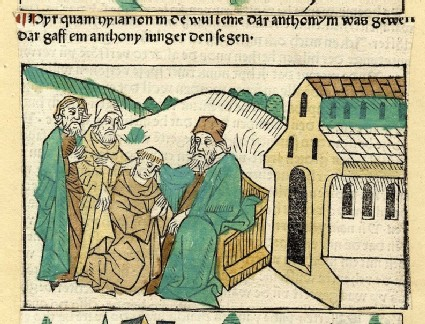 A seated hermit, a monk and two clergymen