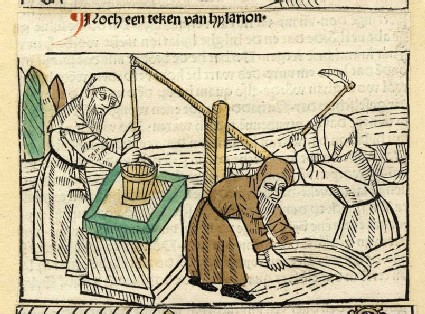 Clergymen get water from a well, collect hay and heel with a scythe
