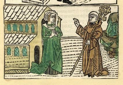A bishop visits a woman at a church