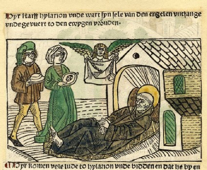 A monk lies down, visited by two people and an angel