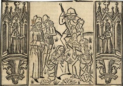 Recto: The Judgement of Solomon <br />Verso: Initial alphabet letter C