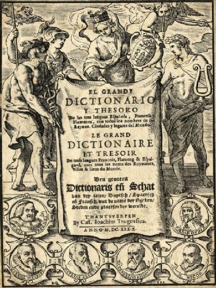 Title page with Hermes, Athena, Apollo and the personification of Antwerp and six medallions with portraits
