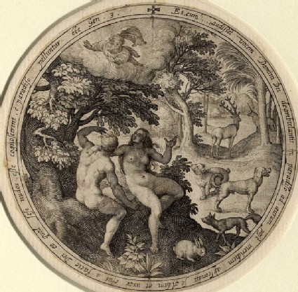 Adam and Eve hiding themselves under a tree