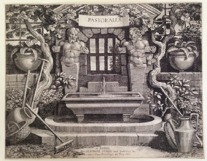 Titlepage to set of 17 engravings of pastoral scenes