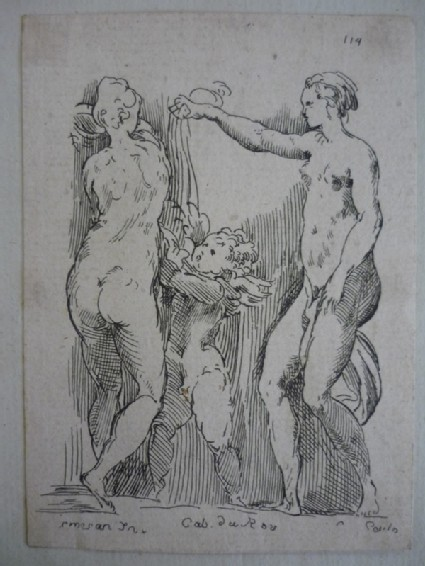 Two standing nude women and a putto