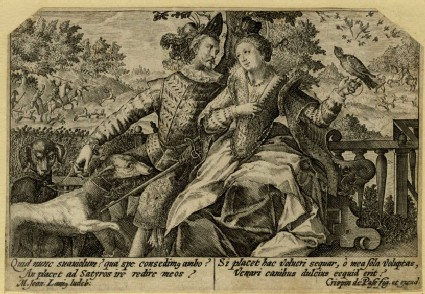 Lady and gentleman seated in a garden