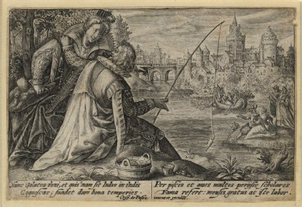 Gentleman fishing and conversing with a lady at his side