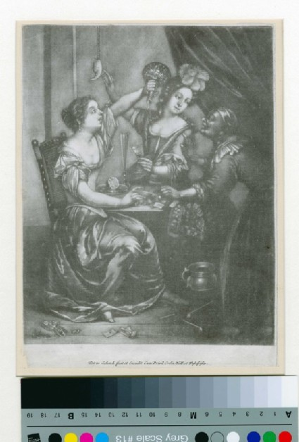 Two dissolute women drinking and eating