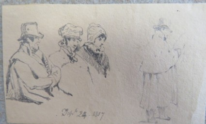 Sketches of two men and two women