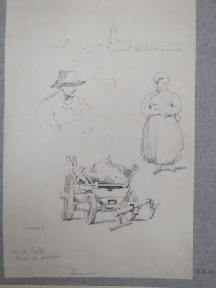 Sketches of people and a cart