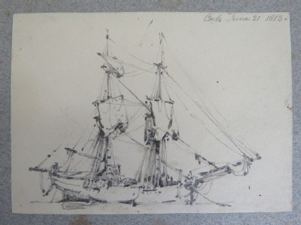 Sketch of a large sailing ship