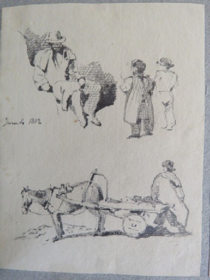 Two sketches, one of a seated man and small children, the other of a horse drawing a cart with a man seated on the edge