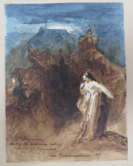 Siguria (Sigrún) seeing the warriors riding towards the tumulus, from  Helgakviða Hundingsbana II, in the Poetic Edda