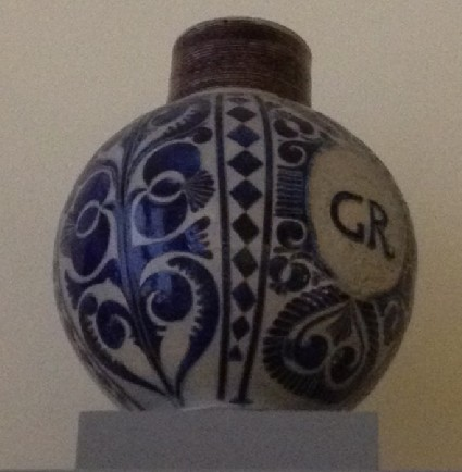 Jug, with a stamped medallion with the letters G.R