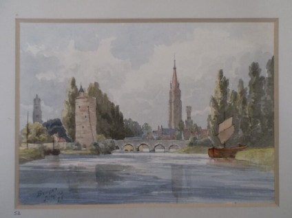 View of the Lake of Love (Minnewater) in Bruges, Belgium