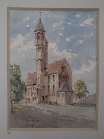 View of St Sebastian in Bruges, Belgium