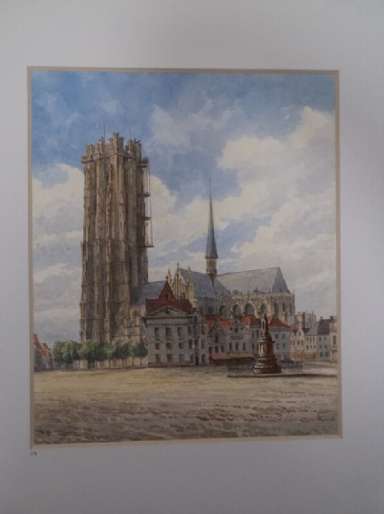 View of San Rombaldo Cathedral in Malines, Belgium