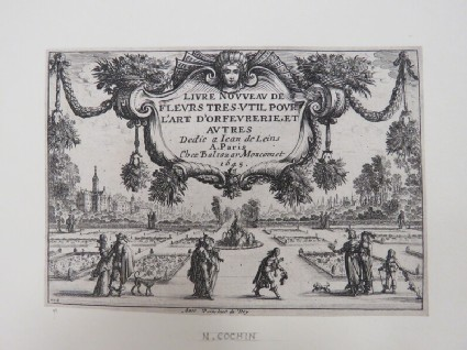 Frontispiece for a series of prints composed of a scene of people walking in a formal garden with the title in a foliate banner hanging above the scene, from Douce Ornament Prints Album I