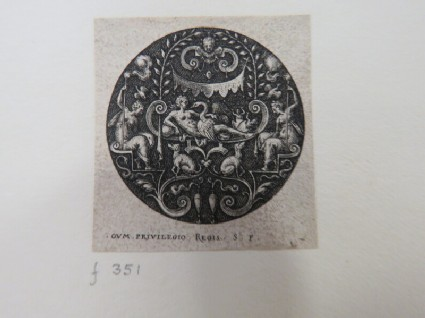 Leda with Jupiter as a swan on bed with Castor and Pollux in eggs at their feet, under of a baldachin held by two female figures, surrounded by dogs and birds, from Douce Ornament Prints Album I