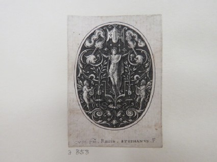 Apollo in centre with arms outstretched holding grotesque foliage, flanked by two torches with two putti below with a small baldachin over Apollon, from Douce Ornament Prints Album I
