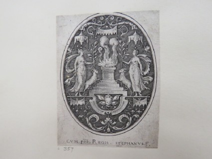 A flaming altar in centre covered by a baldachin, flanked by two women holding olive branches and accompanied by goats, child's head with wings below altar, from Douce Ornament Prints Album I