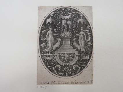A flaming altar in centre covered by a baldachin, flanked by two women holding olive branches and accompanied by goats, and child's head with wings below altar, from Douce Ornament Prints Album I