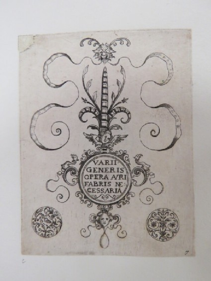 Plate 1: Frontispiece to Varii Generis Opera Avrifabris Necessaria with title in centre of clasp design flanked by two small ornaments, from Douce Ornament Prints Album I