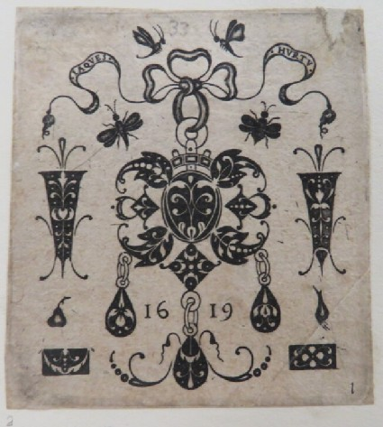 Central pendant design with arabesque decoration on black background with tied ribbon surrounded by bugs and several ornamental elements with arabesques, from Douce Ornament Prints Album I