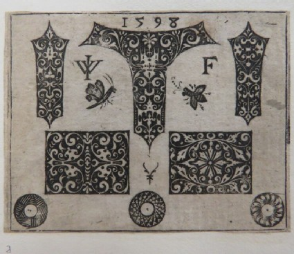 Series of rectangular and fillet ornaments and medallions decorated with arabesques and rinceaux foliage on a black ground with a butterfly and bee, from Douce Ornament Prints Album I