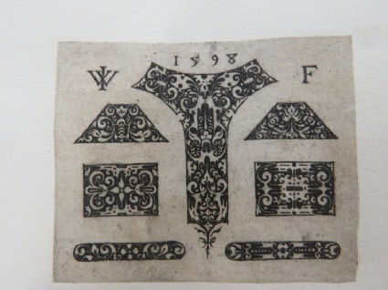 Series of rectangular, fillet, trapezoid and cartouche ornaments decorated with arabesques and rinceaux foliage on a black ground, from Douce Ornament Prints Album I