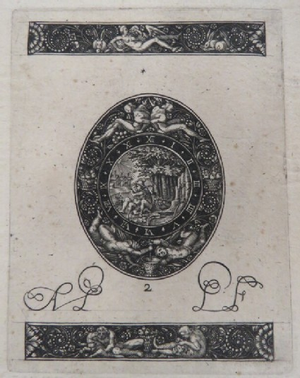 A mythological couple embraces in an landscape in centre of the watch dial with grotesque border, two frieze borders with Leda and the Swan and men with dogs, from Douce Ornament Prints Album I