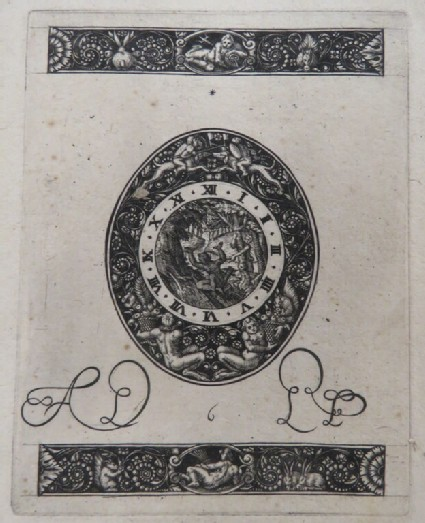 Diana hiding behind tree with hunter in dial surrounded by a grotesque border of putti fighting and friezes of Neptune and Minerva with foliage and rabbits, from Douce Ornament Prints Album I
