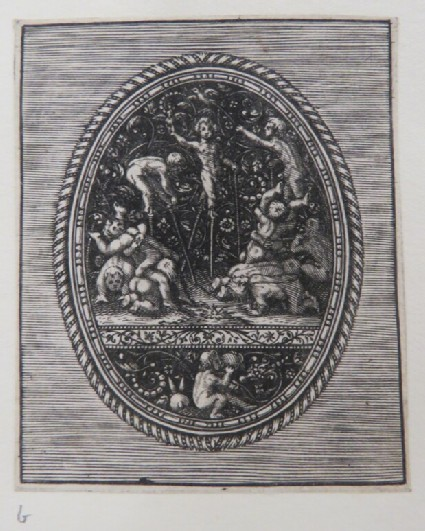 Wrestling putti and putti on stilts playing on a black ground with arabesque decoration with a putti drinking below, band and egg and dart border, from Douce Ornament Prints Album I