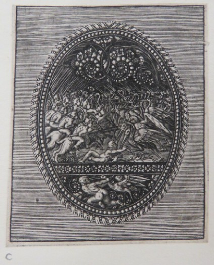 Putti fighting herons on a black ground with arabesque decoration with a putti and stork fighting below with banded and egg and dart border, from Douce Ornament Prints Album I