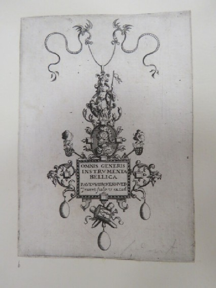 Frontispiece for series of prints in shape of a pendant with portrait of soldier topped by a male figure with shield decorated with trophies and drop pearls, from Douce Ornament Prints Album I