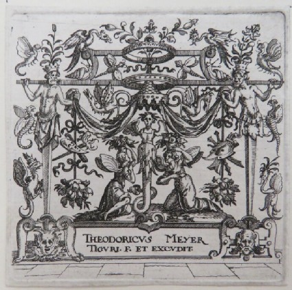 Frontispiece, at centre female herm surrounded by two angels covered by baldachin held by two male herms and pergola with foliage and grotesque bugs, from Douce Ornament Prints Album I
