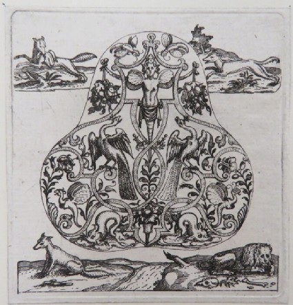 Pear-shaped pendant of strapwork with herm in centre holding grapes flanked by two peacocks surrounded by two fox hunting and fable of lion, fox, and donkey hunting, from Douce Ornament Prints Album I