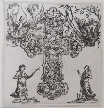 Cross-shaped strapwork pendant with symbols of four apostles in arms and Christ in centre, surrounded by a pelican, an eagle, St Philomena, and saint with cup, from Douce Ornament Prints Album I