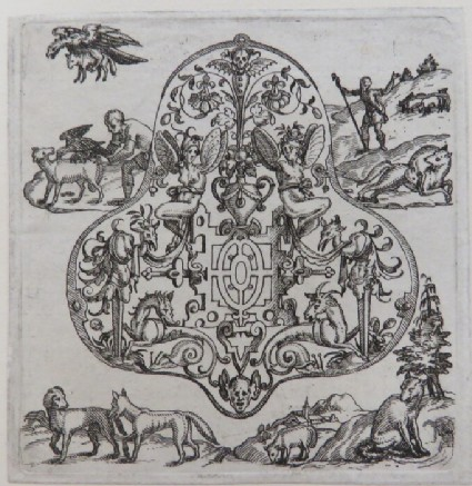 Strapwork grotesque pendant surrounded by scenes of boy stopping eagle from carrying away lambs, shepherd protecting flock from fox, and foxes and dog interacting, from Douce Ornament Prints Album I