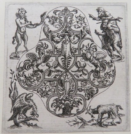 Strapwork design with central herm, peacocks, and foliage, at corners, satyr blowing horn, lame leading the blind, eagle with a scorpion, and goat nursing a dog, from Douce Ornament Prints Album I