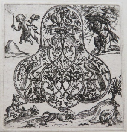 Strapwork pendant design with peacocks and grotesques, surrounded by putti holding a book, man using book to protect himself, and man with dog chasing foxes, from Douce Ornament Prints Album I