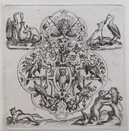 Strapwork pendant design with owl, dragons, and trophies, scenes from the fables of the Fox and the Stork, the Crane and the Wolf, and the Fox,  Bear, and the Lion, from Douce Ornament Prints Album I