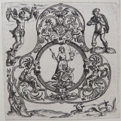 Strapwork pendant design with Chastity, at corners man attempts to fly, man holding two bags, shield with hand holding serpent, and dog with bag on its tail, from Douce Ornament Prints Album I