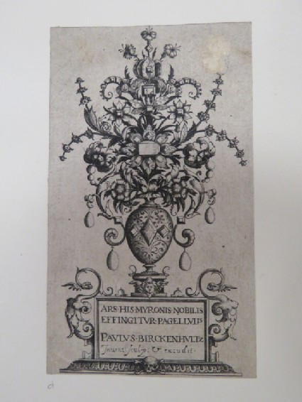 Frontispiece for a series of prints with a vase resting on an inscribed socles filled with flowers and jewels, from Douce Ornament Prints Album I