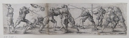 Eleven lansquenets practicing fencing with swords and spears on a sparse ground, a bird with a wreath flies above the scene, from Douce Ornament Prints Album I